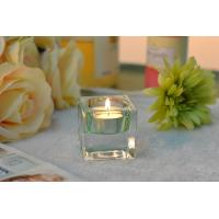 Square Colored Glass Votive Candle Holders , Glass Tealight Holders