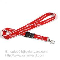 Best Woven Frame Polyester Lanyard with Metal Detachable Buckle, Woven Framed Ribbons wholesale