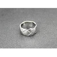 Quality Simple Stainless Steel Band Ring Check High Polished Hypoallergenic For Couples for sale