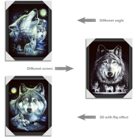 Quality PET/PP Material Printing Lenticular 3d Wolf Picture For Gift Large Size for sale