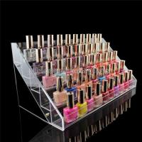 Quality Custom Logo Clear Acrylic Counter Display Racks 5 Step For Nail Polish Retailing for sale