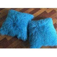 "18x 18"" Tibetan Lamb Fur Pillow Single Sided Fur Cushion Cover Sky Blue Color"
