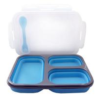Buy cheap High quality 3 compartment microwaveable collapsible silicone lunch box from wholesalers