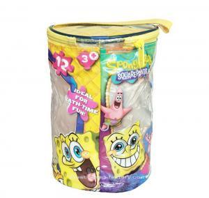 Quality Round Spongebob Theme Toy Bricks Blocks Zipper Storage Bags for Children Building Blocks with handle for sale