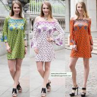 Buy sexy printed flower short dress for women in long flounce sleeve with off the shoulder at wholesale prices