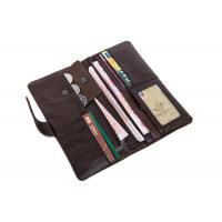 China Brown Patent Leather Wallet With Zipper Pocket , Long Wallets For Men 892M Model on sale