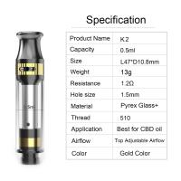 Quality CBD tank K2 cartridge 0.5ml tank capacity adjustable airflow ceramic coil pyrex glass and metal material gold color for sale