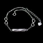 Quality Customized Silver Cubic Zirconia Bracelet Rhodium plating Bar Shape for sale