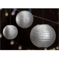 "Quality 14"" Printed Silver Gold Circle Paper Lanterns Handmade Craft For Cultural Garden for sale"