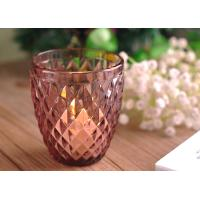 China Beautiful coloured glass candle holders / clear glass votive candle holders Diamond Embossed Pattern on sale