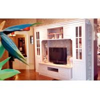 China White Wooden Tv Stand With Showcase , Glass Door corner tv stands on sale