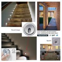 Best High Power 3W Mini Recessed LED Wall Lights IP65 Waterproof for  Stair and Celling wholesale