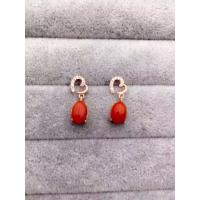 Best Handmade Heart Shape Sterling Silver Earrings Post With Red Corallite Charms wholesale