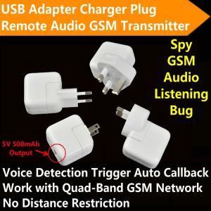 Mini AC Adapter Charger Plug Hidden GSM Audio Transmitter Listening Spy Bug 5V USB Output