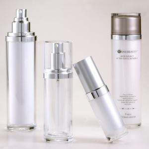 Acrylic Plastic Straight Round Lotion Serum Pump Bottles