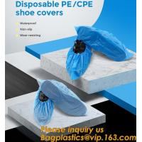 Quality Safety Products Equipment Indoor Disposable medical plastic shoe covers waterproof PE CPE material,PE material blue shoe for sale