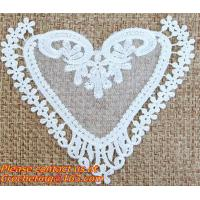 China White Black Fabric Heart Lace Flower Floral Motif Sewing Trim Applique on sale