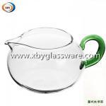 Quality Borosilicate glass milk mug with colored handle for sale