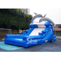 Quality 5m high cute dolphin kids inflatable water slide with pool from China inflatable factory for sale