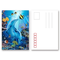 Quality Pantone Color Printing PET 3D Lenticular Postcard / 3D Changing Pictures For Kids for sale