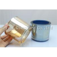 Quality luxury feeling thick wall glass candle holder, golden electroplated high quality candle ja for sale