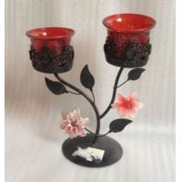 Best Antique Double Metal Flower Decorative Candle Holders With Tealight Cup wholesale