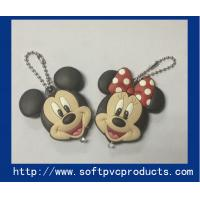 Quality Mickey Mouse Animal Cool Soft PVC Keychain / Custom Soft Rubber Key Chains with LED Light for sale