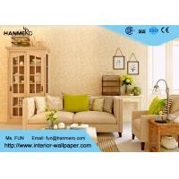 Quality Flocking Modern Removable Wallpaper for Living Room with Warm Beige Floral for sale