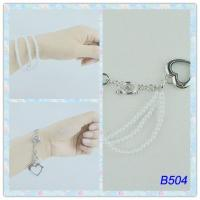 Best Tin Alloy Side Chain Jewelry 2 Tones Color Metal Cuff Bracelets with pearl  for Party wholesale