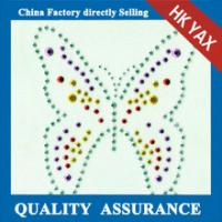 Quality D0929Butterfly design hot fix rhinstuds design & strass design motifs for shirts for sale