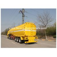 Quality Single compartment small fuel tanker semi trailer three axles 36000 liters Yellow color for sale