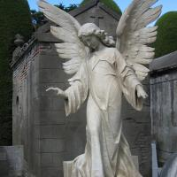 Quality Monument Sculpture Natural Marble Stone Large Angel Garden Statue for sale