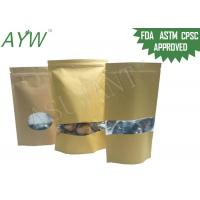 Multi Purpose Kraft Paper Ziplock Bag , ASTM Stand Up Kraft Coffee Bags With Valve