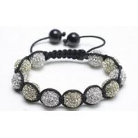 Buy cheap Shamballa Cross Bracelet, Light Yellow & Clear Crystal Pave Alloy Beads from wholesalers