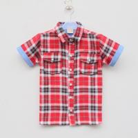 Quality 2014 new design pure cotton kids clothes gird pattern boys t shirt manufacturer small order wholesale for sale