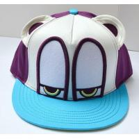 Quality 3D patch embroidery bright color flat brim cartoon snapback hat for sale