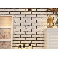 China White Fake Brick Wall Covering / Removable PVC Vinyl Wallpaper Friction - Resistance on sale