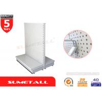 Supermarket Gondola Shelving With Perforated Panel , Retail Shop Display Stands