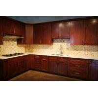 Classic Solid Wood Kitchen Cupboards With Slider Basket And White Marble Countertop