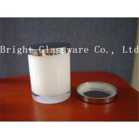 Quality Best design white color glass candle holder with metal lid for sale