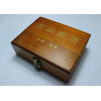 Quality Custom Handmade Lacquered Wooden Box , Brown Color Hinged Lid Wooden Crate Boxes With Gold Logo for sale