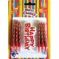 Quality 12 Pieces Passionate Red Golden Birthday Candles With Plastic Card for sale