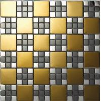 China New Design Golden Wall Decoration Electroplating Mixed Stainless Steel Mosaic Tile on sale