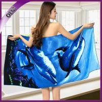 Quality 70*150 cm high water absorption dolphin style printed microfiber beach towel for sale