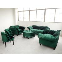 Quality Nordic Style Modular Home Furniture Tufted Velvet Fabric Chesterfield Sofa Set for sale