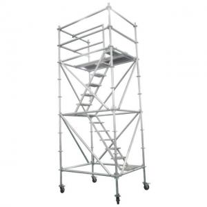 Quality H Frame Aluminum Mobile Steel Scaffolding Movable With Wheels Easy Install for sale