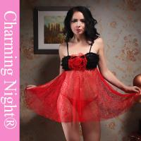 China Gorgeous Lace Black Red Sexy Lingerie Babydoll Dress With Big Flowers In The Front on sale