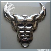 50cm Metal Wall Sculpture Painted Buffalo Skull Wall Art Stainless Steel Material