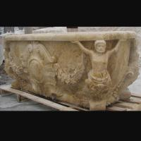 Quality Hotel Deocration Beige travertine bathtub with figure statue carving for bathroom,china sculpture supplier for sale