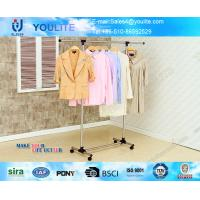 China Metal Pipe Portable Clothes Hanger Rack with Wheels , Commercial Clothing Display Racks on sale